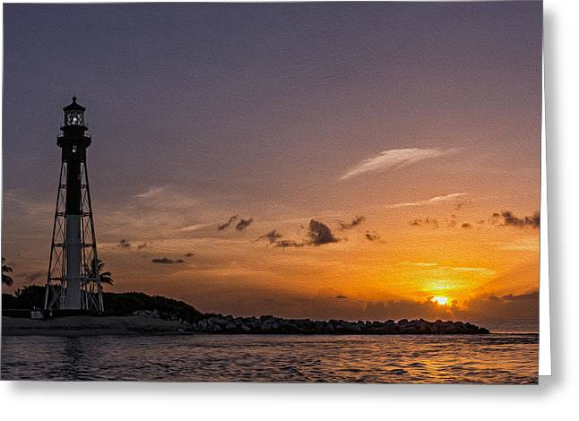 Atlantic Beaches Pyrography Greeting Cards - Hillsboro Inlet Lighthouse Pompano Beach Florida Greeting Card by Michael  Wolf
