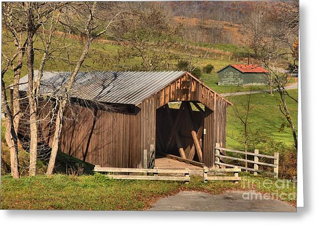 Locust Greeting Cards - Hillsboro West Virginia Covered Bridge Greeting Card by Adam Jewell
