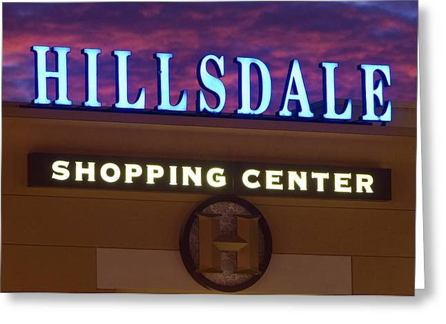 Hillsdale Shopping Center - Lighted Building Sign At Dusk Greeting Card by Scott Lenhart