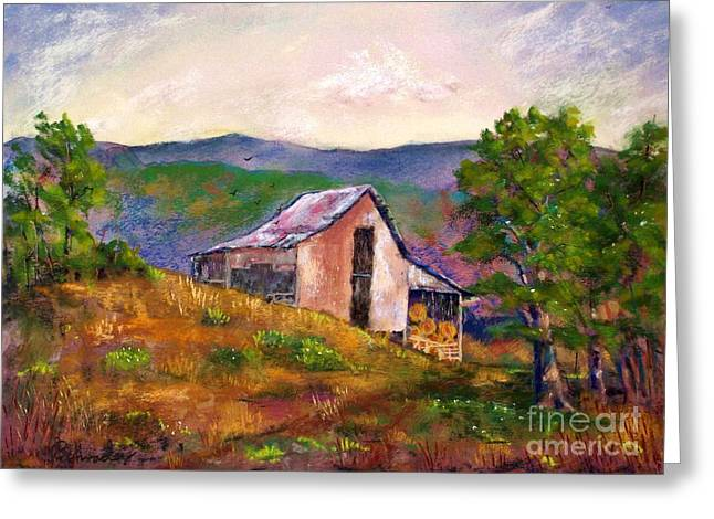Etc. Pastels Greeting Cards - Hillside Barn Greeting Card by Bruce Schrader