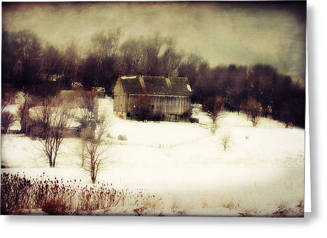Barn Digital Art Greeting Cards - Hillside Barn Greeting Card by Julie Hamilton