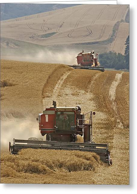 Usa Photographs Greeting Cards - Hillside Combines Greeting Card by Latah Trail Foundation