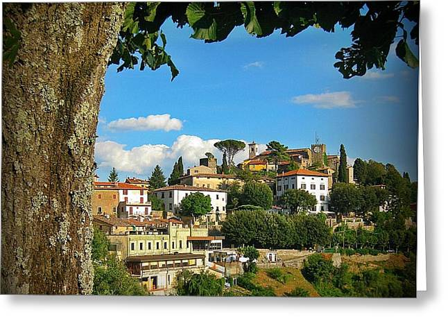 Halifax Art Greeting Cards - Hillside Tuscan Village  Greeting Card by John Malone