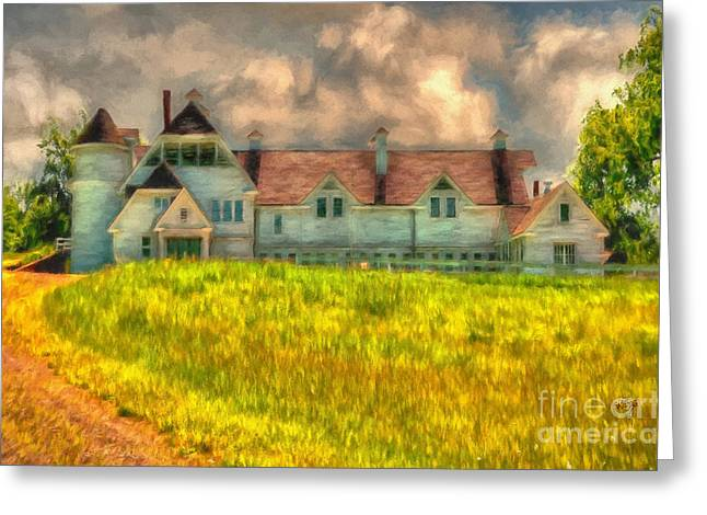 Country Lanes Digital Art Greeting Cards - Hilltop Farm Greeting Card by Lois Bryan