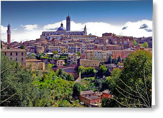 Medieval City Greeting Cards - Hilltop Siena Greeting Card by Walt  Baker
