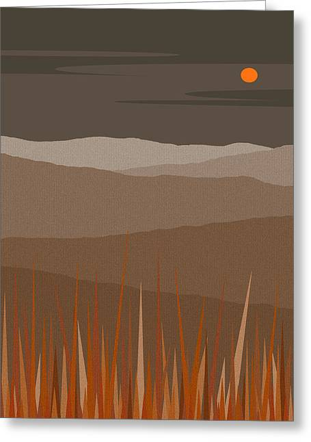 Color Block Greeting Cards - Hilltop Sunset - Orange Sun - Landscape Greeting Card by Val Arie