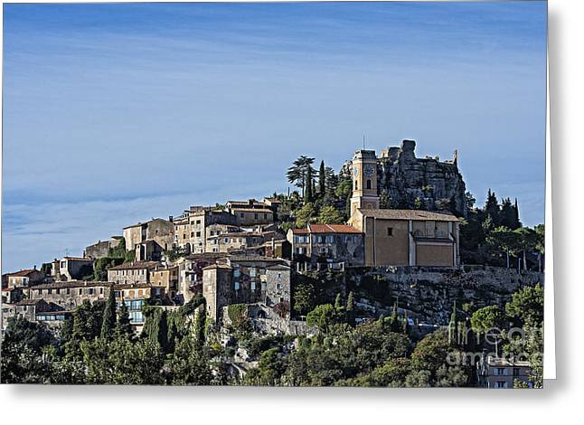 Charming Vistas Greeting Cards - Hilltop town of Eza Greeting Card by John Greim