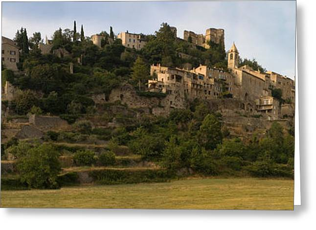 Les Greeting Cards - Hilltop Town Of Montbrun-les-bains Greeting Card by Panoramic Images