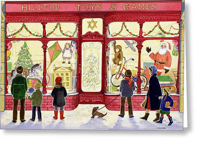 Shop Window Greeting Cards - Hilltop Toys and Games Greeting Card by Lavinia Hamer