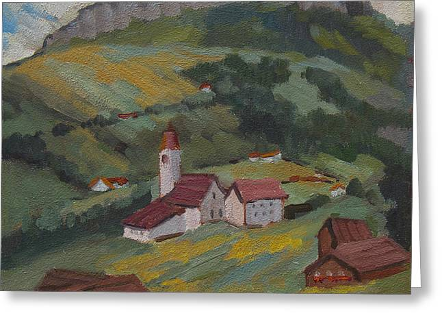 Swiss Paintings Greeting Cards - Hilltop Village Switzerland Greeting Card by Diane McClary