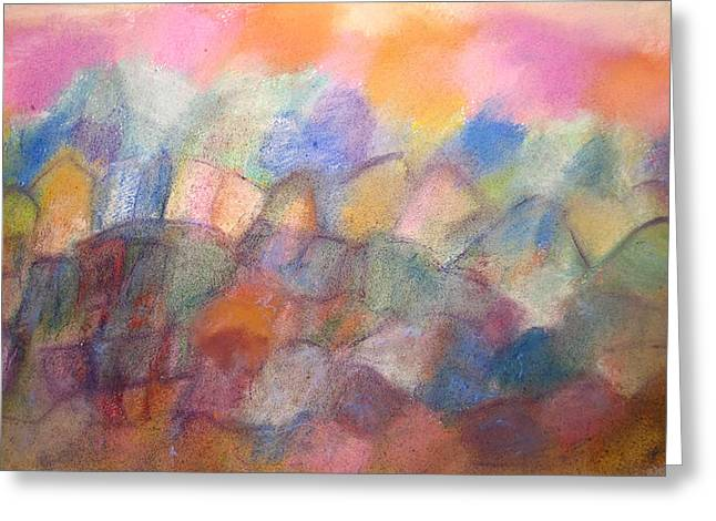 Nature Abstract Pastels Greeting Cards - Hilltop Village Greeting Card by Tolere