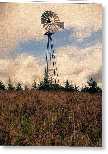 Sonoma County Mixed Media Greeting Cards - Hilltop Windmill 2 Greeting Card by John K Woodruff