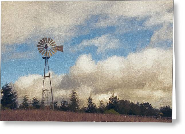 Sonoma Mixed Media Greeting Cards - Hilltop Windmill Greeting Card by John K Woodruff