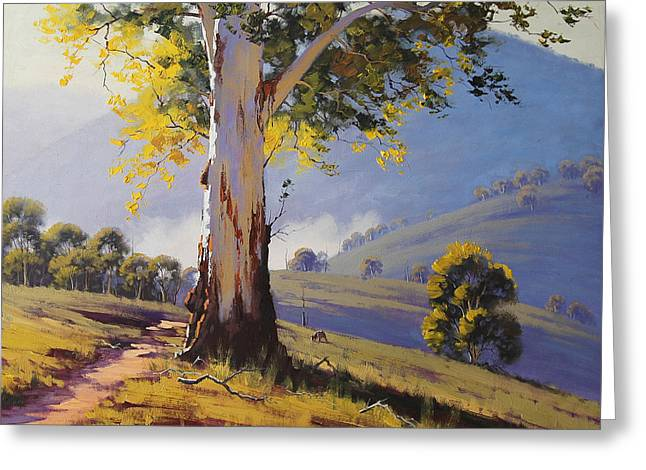 Beautiful Creek Paintings Greeting Cards - Hilly Australian Landscape Greeting Card by Graham Gercken