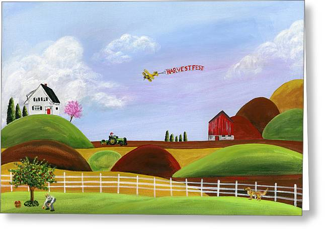 Brianna Greeting Cards - Hilly Harvest Greeting Card by Brianna Mulvale