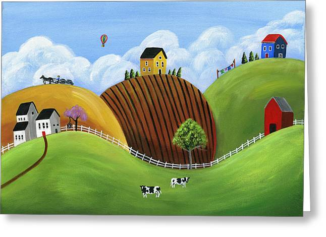 Brianna Greeting Cards - Hilly Homes Greeting Card by Brianna Mulvale