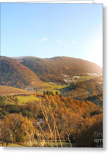 Rolling Hills Of France Greeting Cards - Hilly landscape in autumn square shape Greeting Card by Gregory DUBUS