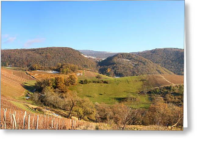 Rolling Hills Of France Greeting Cards - Hilly landscape panoramic in autumn Greeting Card by Gregory DUBUS
