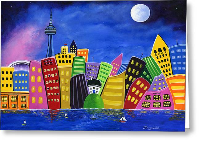 Brianna Greeting Cards - Hilly Meets High-Rise Harbour Greeting Card by Brianna Mulvale