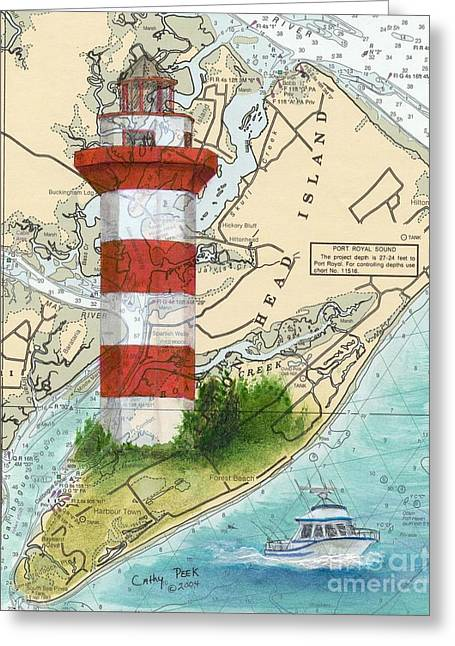 Hilton Greeting Cards - Hilton Head Island Lighthouse SC Nautical Chart Map Art Cathy Peek Greeting Card by Cathy Peek