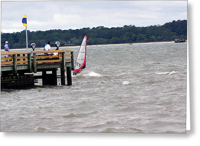 Sailboarding Greeting Cards - Hilton Head Island Pier Shot Greeting Card by Kim Pate