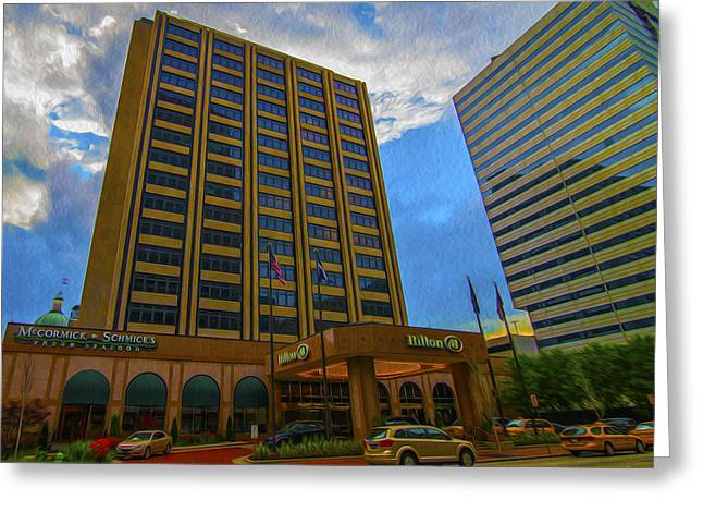 Hilton Greeting Cards - Hilton Hotel Indianapolis indiana Painted Digitally Greeting Card by David Haskett
