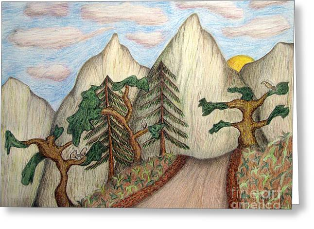 Caring Mother Greeting Cards - Himalaya Dharamkot Path Greeting Card by Elizabeth Stedman