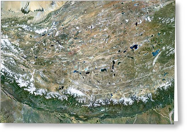 Satellite View Greeting Cards - Himalaya Mountains Asia True Colour Satellite Image  Greeting Card by Anonymous