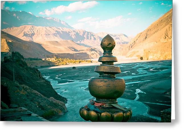 Himalayas Road To Upper Mustang  From Kagbeni Greeting Card by Raimond Klavins