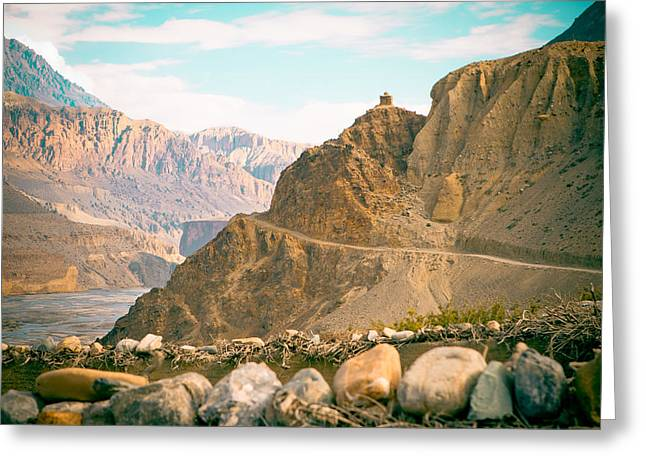 India Greeting Cards - Himalayas road to Upper Mustang view from Kagbeni Greeting Card by Raimond Klavins