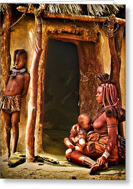 African Heritage Greeting Cards - Himba Family by the Door of Their Clay Hut Greeting Card by Paul W Sharpe Aka Wizard of Wonders