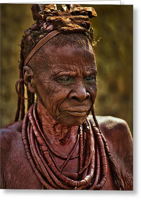 Jewellery Greeting Cards - Himba Tribe Elder Wearing Necklaces Greeting Card by Paul W Sharpe Aka Wizard of Wonders