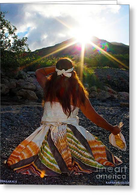 Sun Tapestries - Textiles Greeting Cards - Hina a Ka La Greeting Card by Dalani Tanahy