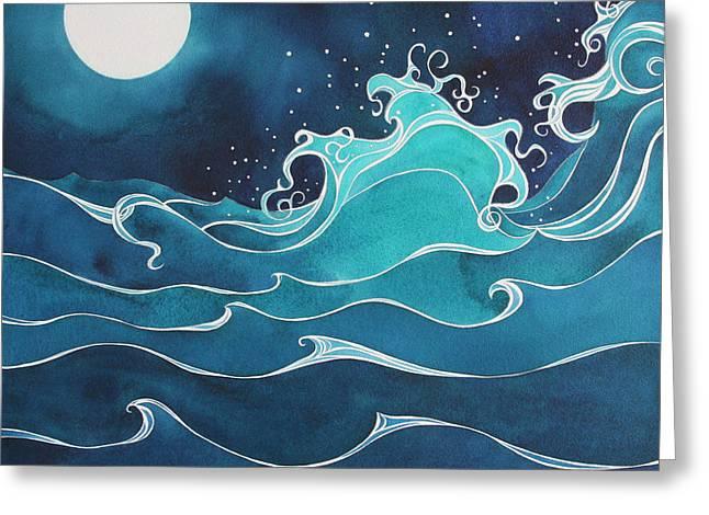 Sea Moon Full Moon Mixed Media Greeting Cards - Hina i ka malama Drum Greeting Card by Lynne Baur
