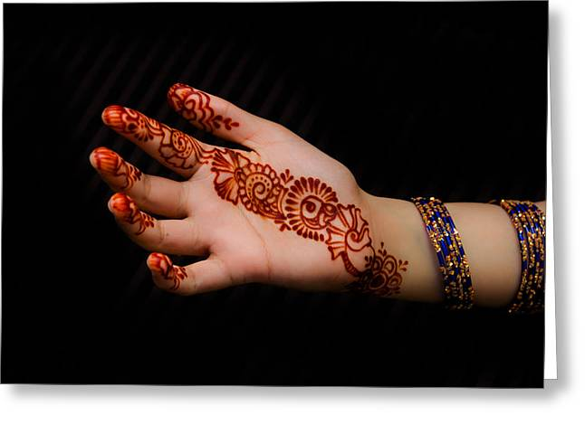 Human Jewelry Greeting Cards - Hina - Mehandi Greeting Card by Imran Khan