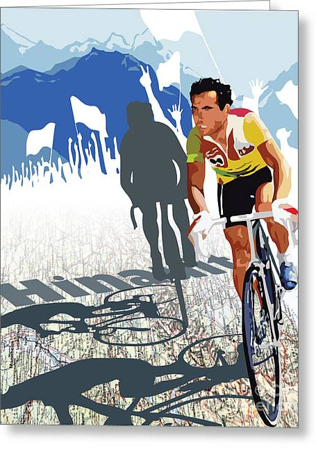 Athlete Digital Greeting Cards - Hinault map print Greeting Card by Sassan Filsoof