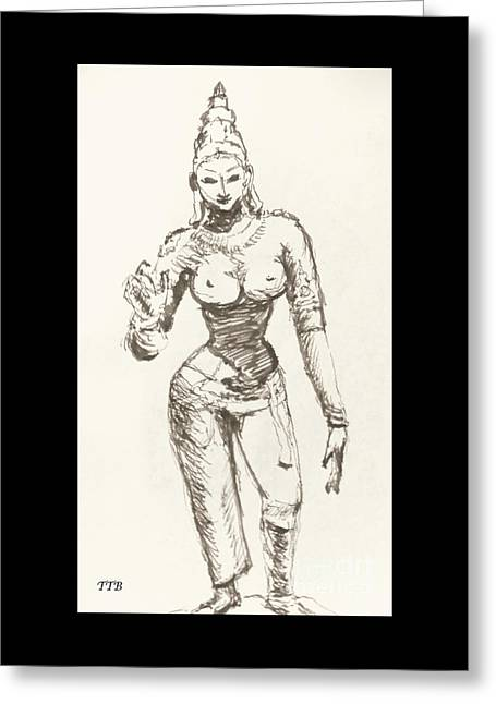 Religious Canvas Prints Drawings Greeting Cards - Hindu Goddess Sivakami Greeting Card by Art By - Ti   Tolpo Bader