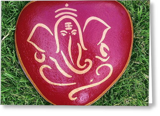Print Ceramics Greeting Cards - Hindu Elephant Greeting Card by Nick Osipczak