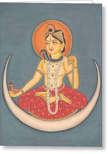 Tarjetas Greeting Cards - Hindu God Shiva Shankar Moon Miniature Artwork Painting India Yoga  Greeting Card by A K Mundhra