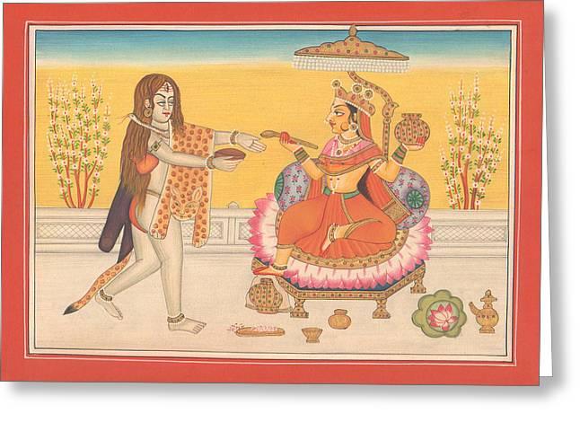 Hindu Goddess Greeting Cards - Hindu Goddess Annapurna God Shiva Yoga Yogi Hindu Art Gallery India Greeting Card by A K Mundhra