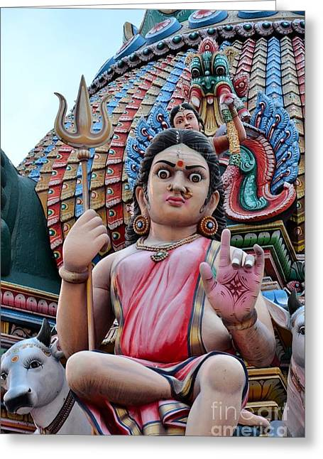 Praying Hands Greeting Cards - Hindu goddess at colorful temple Greeting Card by Imran Ahmed