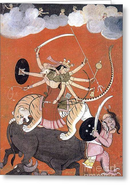 Hindu Goddess Photographs Greeting Cards - Hindu Goddess Durga Fights Mahishasur Greeting Card by Photo Researchers