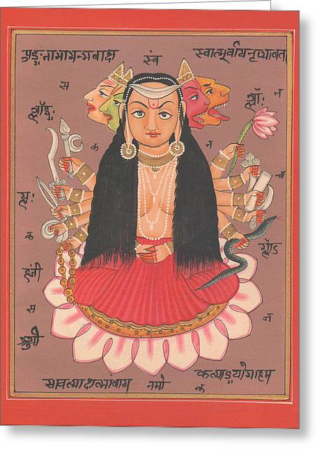 Tantrik Art Greeting Cards - Hindu Goddess Durga Vishvarupam Miniature Painting Handmade Artwork Artist Art Gallery Water color I Greeting Card by A K Mundhra