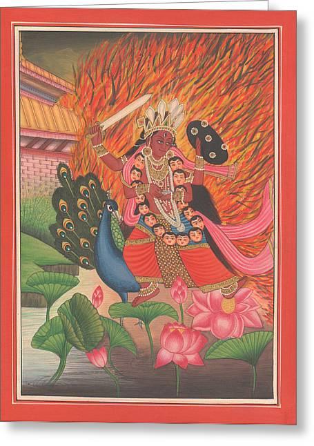 Hindu Goddess Paintings Greeting Cards - Hindu Goddess Kali Kalika Miniature Painting India Lotus Artwork Folk Art Yoga Yogi Meditation Greeting Card by A K Mundhra