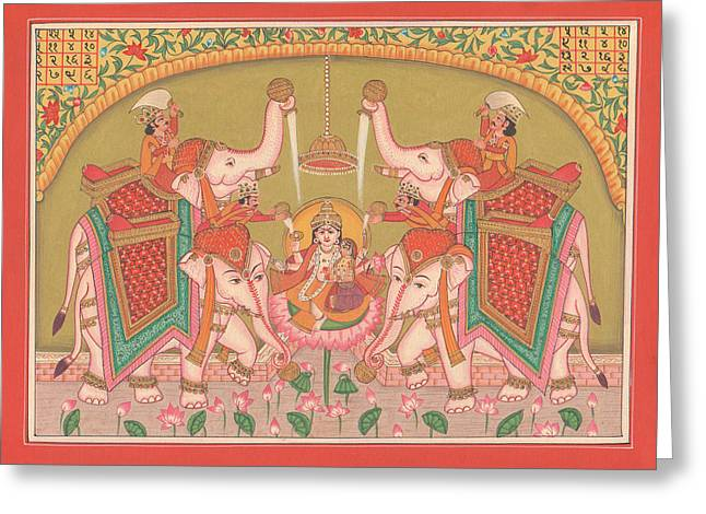 Hindu Goddess Paintings Greeting Cards - Hindu Goddess of Wealth Money Devi Laxmi Elephant  Miniature Painting India folk art Traditional  Greeting Card by A K Mundhra