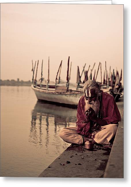 Chanting Greeting Cards - Hindu Priest Offering Prayers Greeting Card by Nila Newsom