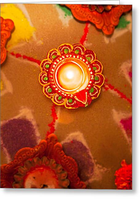 Marigold Festival Greeting Cards - Hindu Rangoli and Diva Greeting Card by Kantilal Patel