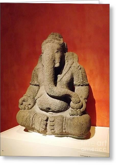 Hindu Statue God Ganesha Greeting Card by Brigitte Emme