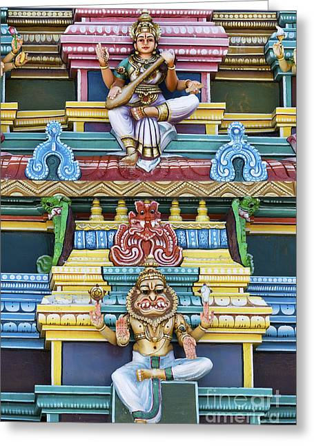 Hindu Goddess Photographs Greeting Cards - Hindu Temple Deity Statues Greeting Card by Tim Gainey