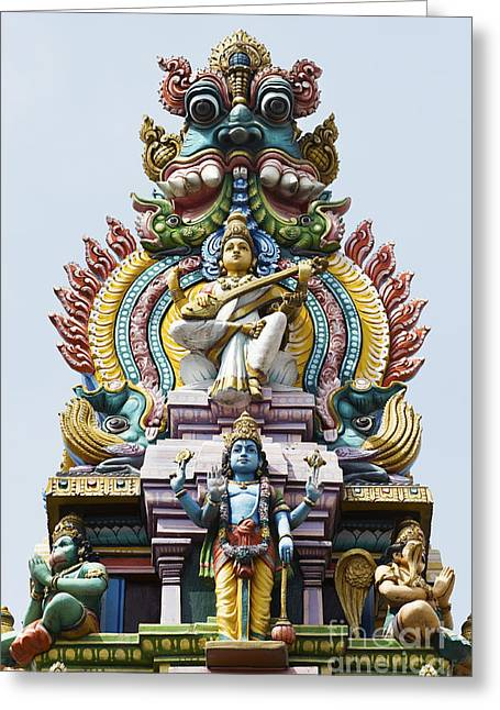 Sculpture Indians Greeting Cards - Hindu Temple Gopuram India Greeting Card by Tim Gainey